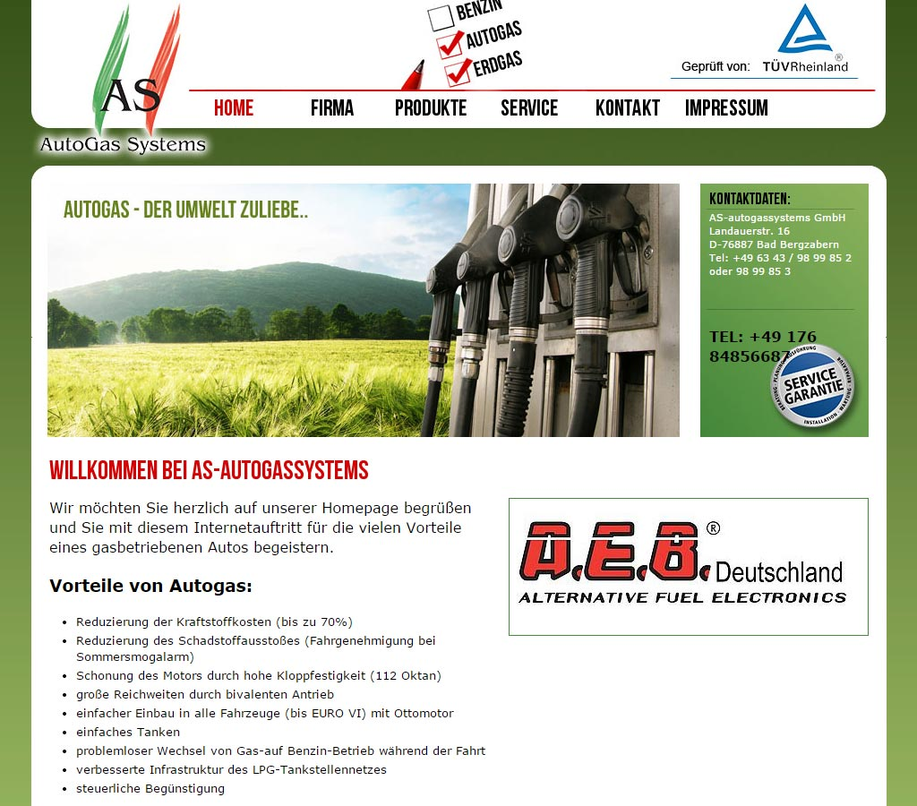 Webdesign Referenz der AS-Autogassystems GmbH in Bad Bergzabern