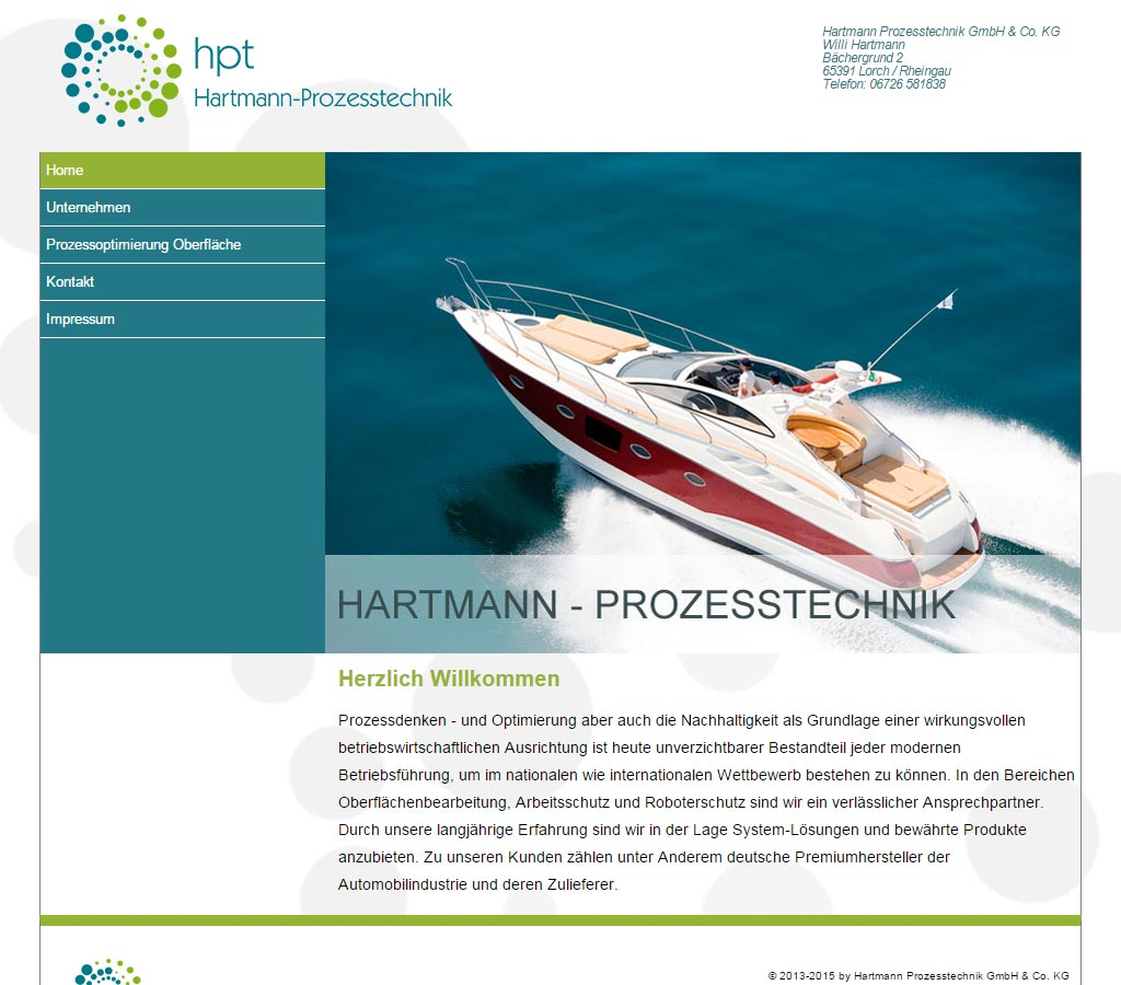Webdesign Referenz der Hartmann Prozesstechnik GmbH & Co. KG in Lorch