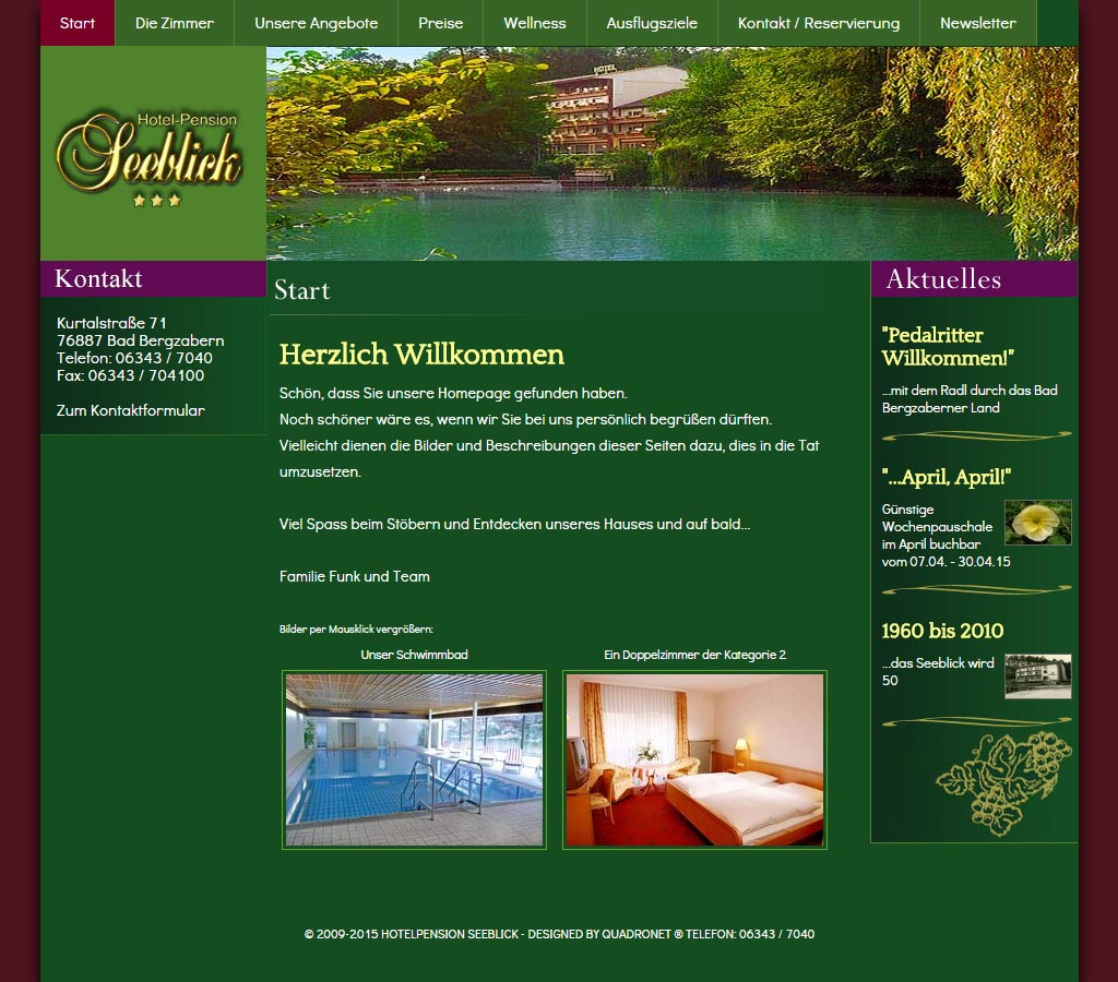 Webdesign Referenz  Hotelpension Seeblick in Bad Bergzabern