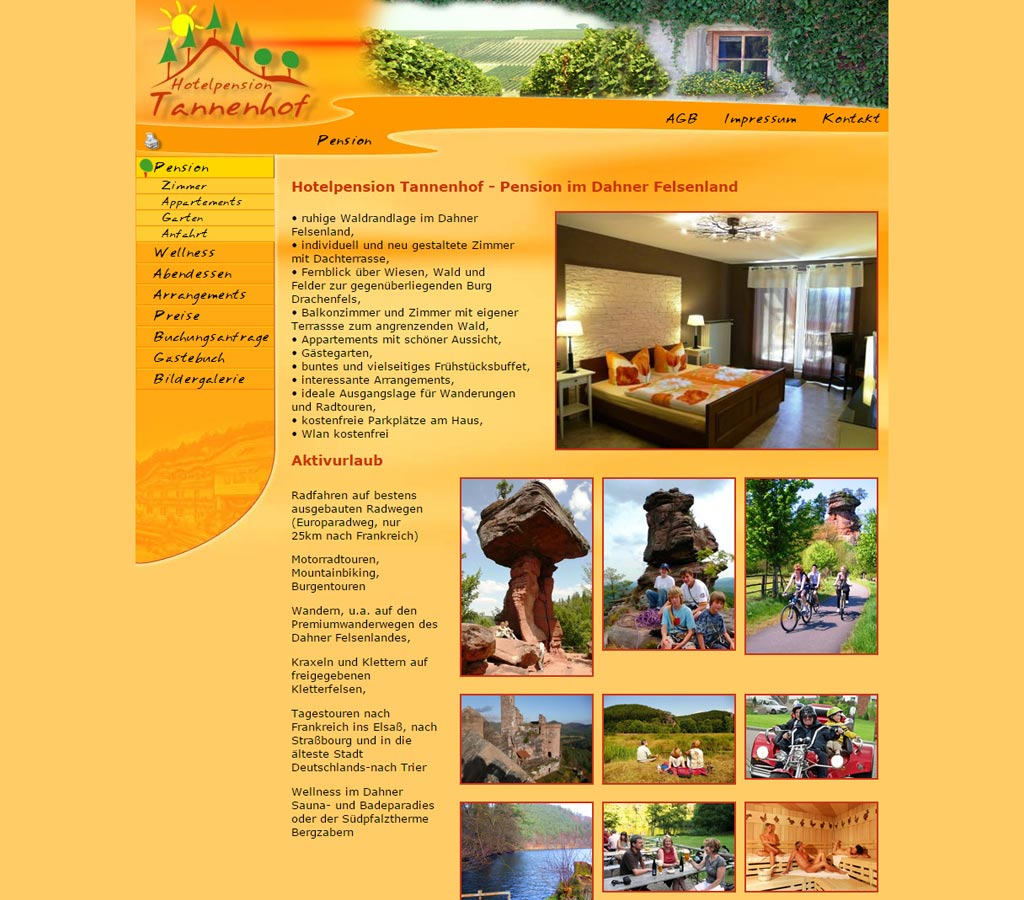 Webdesign Referenz  Hotelpension Tannenhof in Busenberg - Pfalz