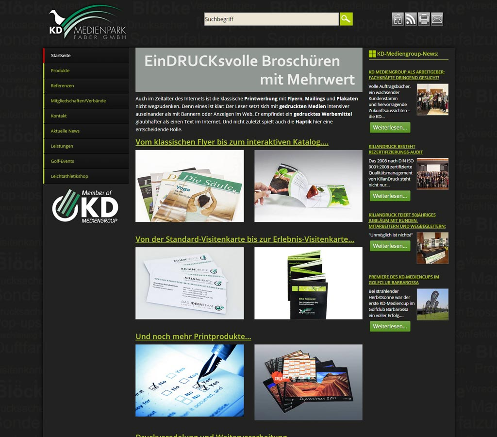 Webdesign Referenz der Druckerei KD-Medienpark in Kaiserslautern